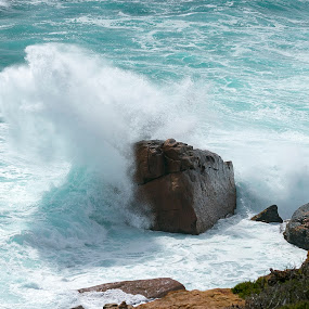 Crashing against the boulder by Clarissa Human - Landscapes Waterscapes ( water, waves, ocean, boulder, whitewash, lanscapes,  )