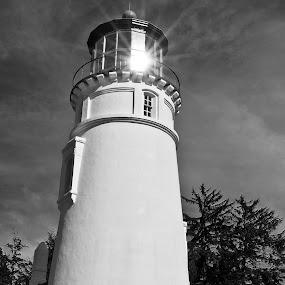 Afternoon Light by Jim O'Neill - Black & White Buildings & Architecture ( oregon, lighthouse, landscapes, umpqua, coast )