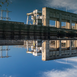 Upside Down - Dam It! by Mike Lee - Buildings & Architecture Other Exteriors ( reflection, outdoors, dam, keswick dam, sacramento river, architecture, inverted, keswick, river )