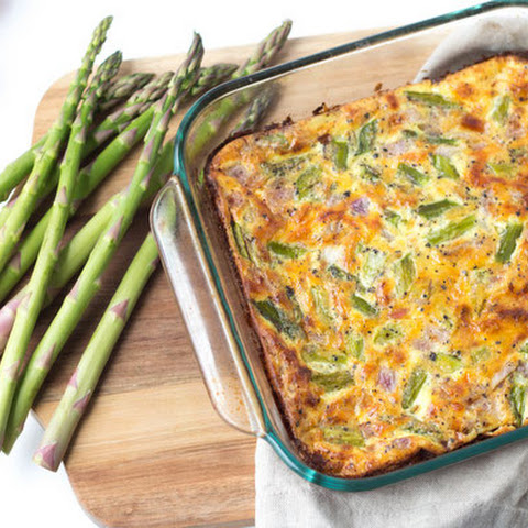 Cheesy Ham and Asparagus Egg Casserole