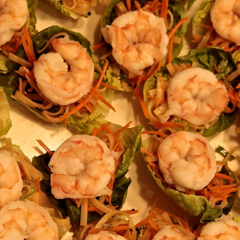Thai Lettuce Wraps with Shrimp, Peanut Sauce & Chili Garlic Sauce