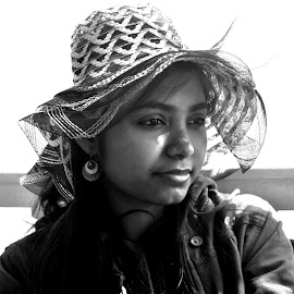 by Monami Das - Novices Only Portraits & People ( #black&white #portrait #hat #lady )