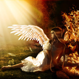 Falling  Angel by Sergiu Pescarus - Digital Art People ( fires, angel, wings, dark, light trails, falling, light, darkness, fire )