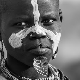 Feather Girl by Mike O'Connor - People Street & Candids ( korcho, tribe, woman, scowl, face paint, karo, feather, ethiopia,  )