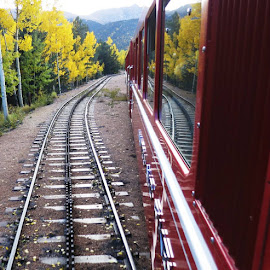 Pikes Peak Cog Railway by Rob Hallifax - Transportation Trains ( #colorado, #autumn, #fallcolor, #pikespeak, #railroad )