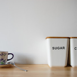 Good Morning by Dan Ungur - Food & Drink Ingredients ( coffee, concept, tea spoon, abstract, sugar, lavender, cup, morning )