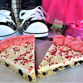 Chocolate Chip Valentine Pizza Cookies by Cheryl Beaudoin - Food & Drink Candy & Dessert ( love, chip, hearts, chocolate, desert, girl, food, pizza, valentine, cookies, snack, boy )