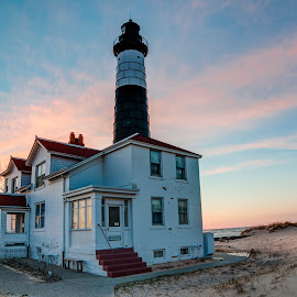 Big Sable Point Lighthouse #5 by Jebark Fineartphotography - Buildings & Architecture Public & Historical ( michigan, building, waterscape, sunset, lighthouse, lake, historical, architecture, seascape, beach, beacon )