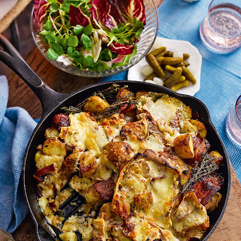 Potato, Bacon And Raclette Skillet Gratin