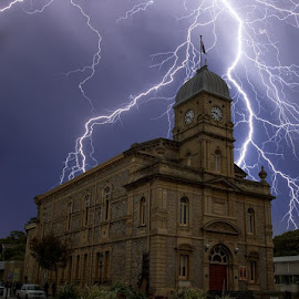 Albany Town Hall Strikes by Steve Brooks - Buildings & Architecture Other Exteriors ( canon, lightning, albany, australia, weather, storms, sparks, weather photography, street photography, western australia )
