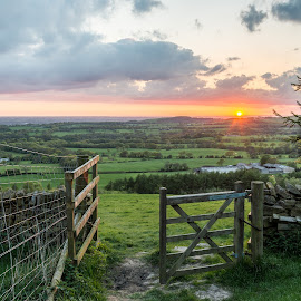End of the Day by Joe Hayhurst - Landscapes Prairies, Meadows & Fields ( hdr, sunset, fields, gate, beacon fell )