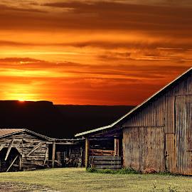 Barns at Sunset by JEFFREY LORBER - Buildings & Architecture Decaying & Abandoned ( jeffrey lorber, corn crib, sunset, barns, lorberphoto )