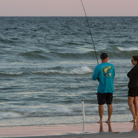 fishing by Jim Greene - People Couples ( two, windy, togetherness, ocean, couple, fishing )