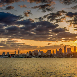 sunrise peekaboo by Chris Shaffer - City,  Street & Park  Skylines ( clouds, washington, seattle, cityscape, pacific northwest )