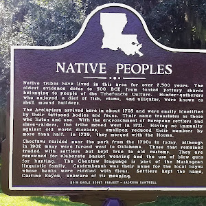 Native tribes have lived in this area for over 2,500 years. The oldest evidence dates to 500 BCE from footed pottery shards belonging to people of the Tchefuncte Culture. Hunter-gatherers who enjoyed ...