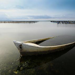 Barque abandonnée by Olivier Tabary - Landscapes Beaches ( étang, bateau, lac )