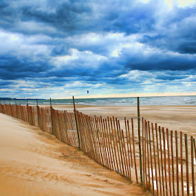 Snow Fence by Dennis Granzow - Landscapes Travel ( snow fence, lake michigan, dark clouds, seascape, beach )