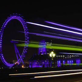 Light trails over Westminster Bridge by Chris Irv - Novices Only Landscapes ( london eye, bus light trails, westminster bridge, colours )