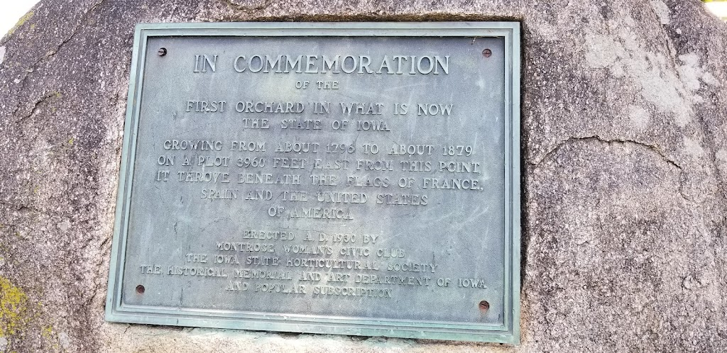In Commemorationof theFirst Orchard In What Is NowThe State of IowaGrowing from about 1796 to about 1879 on a plot 3960 feet east from this point, it throve beneath the flags of France, Spain and the ...