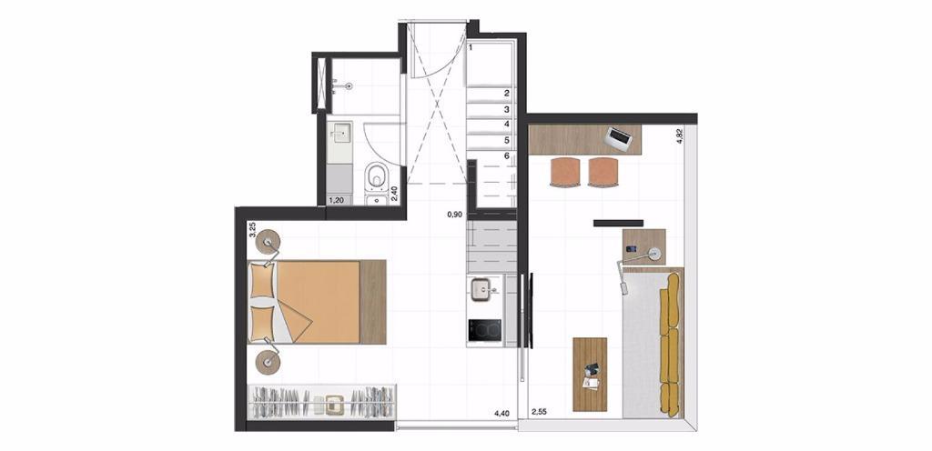 Cobertura Inferior 74 m²
