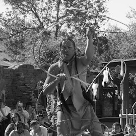 Hoop Dance by Jose Matutina - People Musicians & Entertainers ( b&w, sony rx100iv, orange county, california, buena park, knotts berry farm, native american )