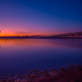 Passing the Time by Thomas Crews - Landscapes Sunsets & Sunrises ( sunset, lake ray roberts, long exposure, landscape )