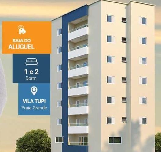 Apartamento de 2 dormitórios em Vila Tupi, Praia Grande - SP