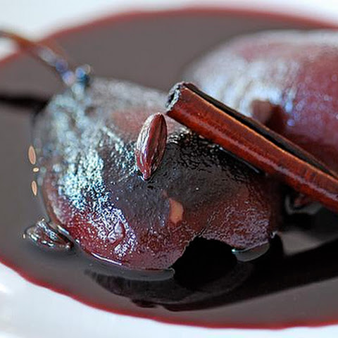 Pears Poached In Red Wine And Cardamom
