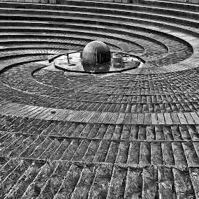 Spiral Fountain, Sydney by Daniel Schwabe - Abstract Patterns ( abstract, b&w, australia, fountain, spiral, sydney, geometry )