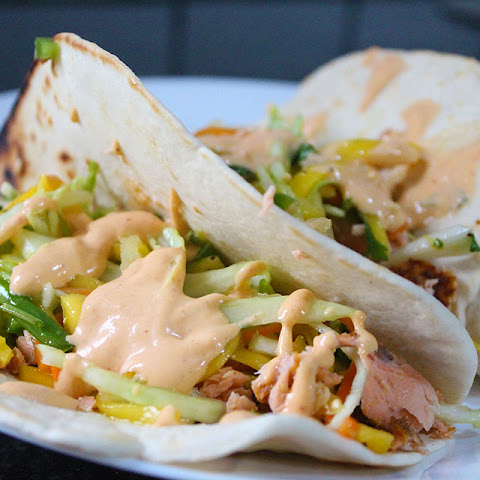 Smoked Salmon Tacos with Chipotle Cream Sauce and Mango-Lime Slaw