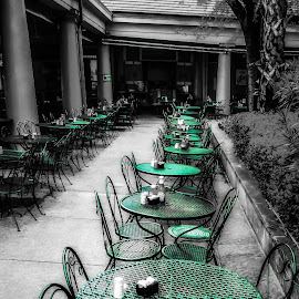 French Quarter in New Orleans by Dave Walters - Digital Art Places ( black & white, tables, french quarter, lumix fz2500, colors, digital art )