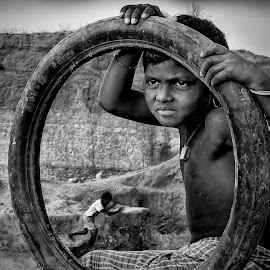 The Tribal Girl  by Kallol Bhattacharjee - Black & White Street & Candid ( canon, girl child, black and white, candid, tribal, sx50hs )