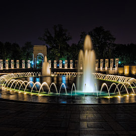 WWII Memorial in Washigton, DC by Patty Singer - City,  Street & Park  Fountains ( world war ii, dc, memorial, fountain, cityscape )