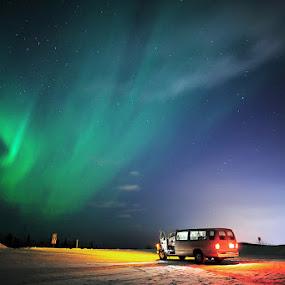 Northern Lights by Pete Piriya - Landscapes Weather ( car, northern, borealis, aurora, alaska, light )