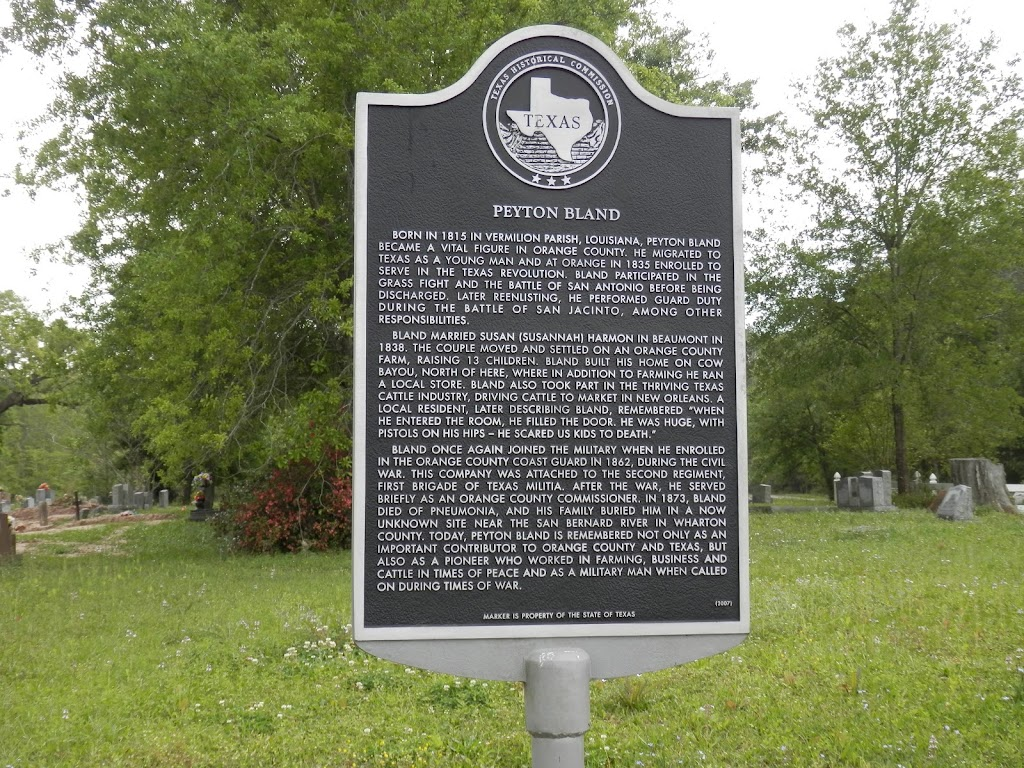 Born in 1815 in Vermilion Parish, Louisiana, Peyton Bland became a vital figure in Orange County. He migrated to Texas as a young man and at Orange in 1835 enrolled to serve I the Texas Revolution. ...