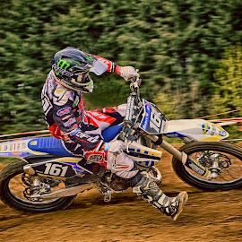 Blue-Red Tornado by Marco Bertamé - Sports & Fitness Motorsports ( 161, curve, red, motocross, blue, one hundred sixty-one, dust, clumps, number, alone, race, accelerating, competition,  )