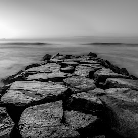 Break  by Kevin Frick - Black & White Landscapes ( ocean, black and white, long exposure, stone )