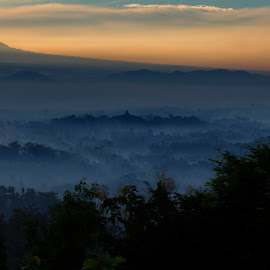 magical morning from borobudur by Hartono Wijaya  - Landscapes Travel ( merbabu, magelang, morning, panorama, temple, mountains, dawn, yogyakarta, fog, indonesia, merapi, nature photography, scenery, landscapes, travel photography, misty )