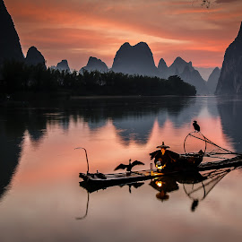 Cormorant Fisherman Sunrise by David Long - Landscapes Travel ( li river, cormorant fisherman, guilin )