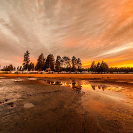 Sunset beach by Benny Høynes - Landscapes Sunsets & Sunrises ( orange, sweden, c anon, sunset, beach, colours )