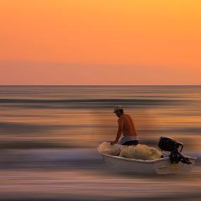 Fisherman by Ömür Kahveci - Landscapes Travel ( fineart, sunset, seascape, fisherman )