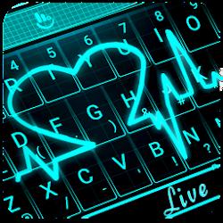 Live 3D Neon Blue Love Heart Keyboard Theme