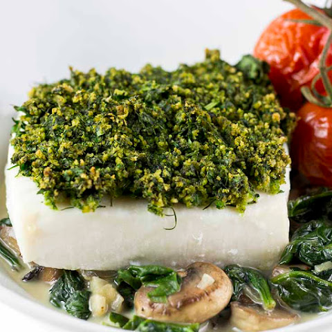 Crusted Halibut With Low-Fat Creamed Spinach