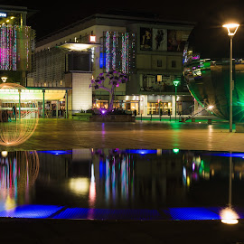 Millennium Sparkles by Andro Andrejevic - Abstract Light Painting ( water, light painting, sparkler, orb, reflections, bristol, millennium square )