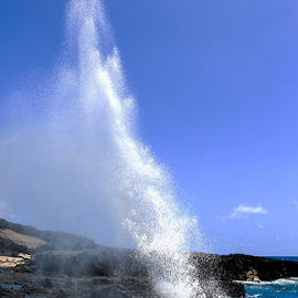 Woosh by Steve BB - Landscapes Waterscapes ( danger, spray, lava, sea, high, surf, rocks, blowhole, woosh )