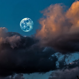 Blue Moon by William Boyea - Landscapes Cloud Formations ( clouds, moon,  )