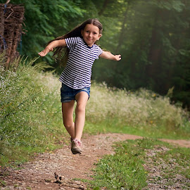 Jump by Jiri Cetkovsky - Babies & Children Children Candids ( child, girl, wood, game, run, jump )