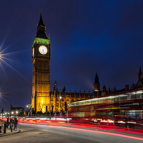 Big Ben in the Night by Sefanya Dirgagunarsa - City,  Street & Park  Vistas ( landmark, travel )