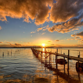 Jetty ... by Pawel Tomaszewicz - Landscapes Waterscapes ( water, clouds, europe, photomatix, hdr, waterscape, reflections, jetty, dri, england, poole, sky, color, chmury, sunset, pier, sunrise, sandbanks, molo, dorset )