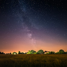 House by the Milky Way by Mihály Tomka - Landscapes Starscapes ( lights, mystic, magic, nature, night photography, magical, stars, fields, nightscape, galaxy, milky way )